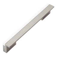 Cabinet Handle - 148mm - High Gloss White with Satin Nickel Finish