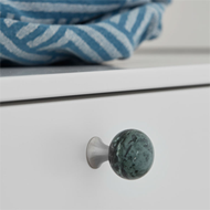 BEAD Straight Cabinet Knob - 28mm - Marble Inox/Green Finish