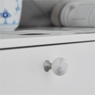 BEAD Straight Cabinet Knob - 28mm - Marble Inox/White Carrera Finish