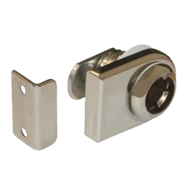 Glass Door Lock Housing with Striking Plate - Nickel Plated Finish - Right Version