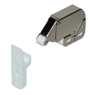 Roller Catch - Mini Latch with counterpart - White with 4 turns spring - Nickel Plat