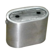 Oval Pipe Socket - Stainless Steel Finish