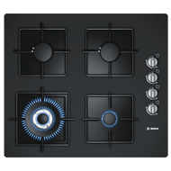 Gas Hobs with Integrated Controls - 60 cm - 4 Burner - Black Tempered Glass