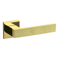 DIANA CHEVRON Door Lever handle on rose - Brass - Bright Super Gold Finish