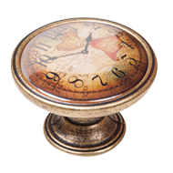 Map Clock Antique Cabinet Knob