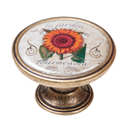 Orange Sunflower Cabinet Knob