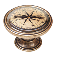 Compass Design Antique Cabinet Knob