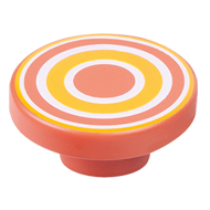 Cabinet Knob with Orange - Red Circles