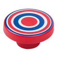 Cabinet Knob with Red and Blu
