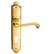 CASIGLIA Door Lever Handle on Plate in Bronze Finish