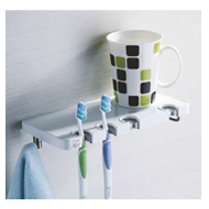 Tooth Brush Holder with Hook - Chrome F