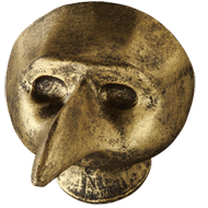 Venice Bird Mask Cabinet Knob in Antique Brass Finish from Siro