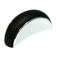 Cabinet Black Leather Knob in Bright Ch