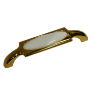 White Ceramic Cabinet Handle - Gold Finish - 128mm