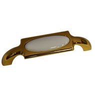 White Ceramic Cabinet Handle - Gold Finish - 96mm