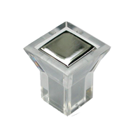 Cabinet Knob - 22mm - Crystal Clear wit