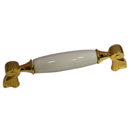 White Ceramic Cabinet Handle - Gold Fin