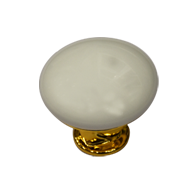 White Ceramic Cabinet Knob - Gold Finis