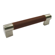 Cabinet Leahter Handle - 150mm - Brown & Satin Nickel