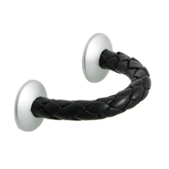 Leather Cabinet Pull - Plaited black leather/ White aluminum Finish