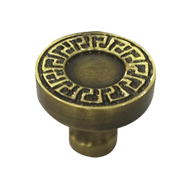 Brass Cabinet Knob - Antique Brass Fini