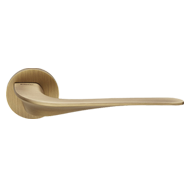 Wind Door Lever Handle on rose - Patine