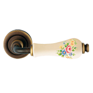Dalia Door Handles on rose - Pink rose