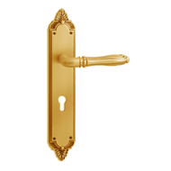 CORTONA Door Handle on Plate - Old Gold