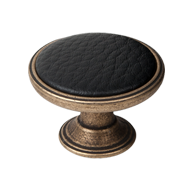 Black Leather Cabinet Knob - Antique Br