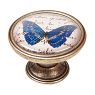Blue Butterfly Cabinet Knob - Antique B