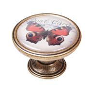 Red and Black Butterfly Cabinet Knob -