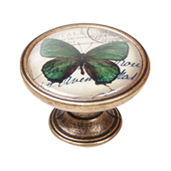 Green Butterfly Cabinet Knob - Antique