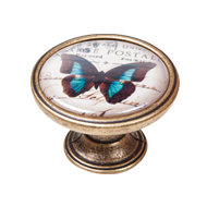Black and Blue Butterfly Cabinet Knob -