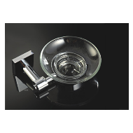 Sapphire Soap Dish - Glass & Chrome Plated Finish