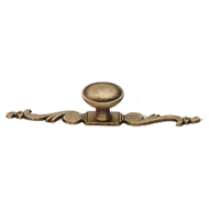 Cabinet Knob with Base Plate  - 137mm - Antique Brass Trumbled Finish