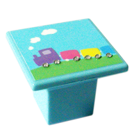 Kids Small Cabinet Train Knob in Sky Blue Color with Strass Stone