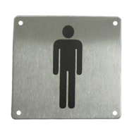 Male Sign Plate - 100X100mm - Stainless Steel Finish