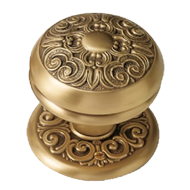 Renes Door Knob on Rose - Old Gold Finish