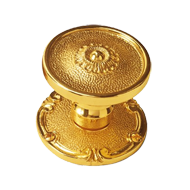 Nantes Door Knob on Rose - Old Gold Finish