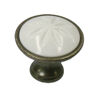 Cabinet Knob - 34mm - Tin Coloured & Wh