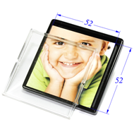Kids Photo Frame Cabinet Knob in Bright Chrome with Transparent Color with From Misr