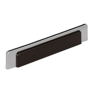 Cabinet Handle - 150mm - High Gloss Black with Bright Chrome Finish