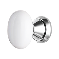 Loto Door Knob on Rose - White & Chrome Plated Finish