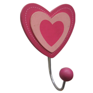 Heart Hook - 1 Peg - Wood/Metal - Multi