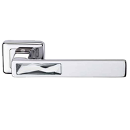 CLOUD Swarovski Lever Handle on Rectangular Rose in Polished Chrome Finish