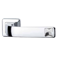 SUN Swarovski Lever Handle on Rose in Polished Chrome Finish