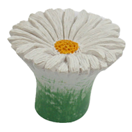 White Daisy Flower Shaped Cabinet Knob