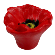 Cabinet Knob in Flower Shape with Red C