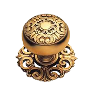 Mosaccio Cabinet Knob with Rose - Old G