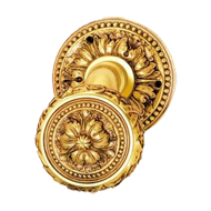 Door Knob on Rose - Polished Silver/Old Gold Finish